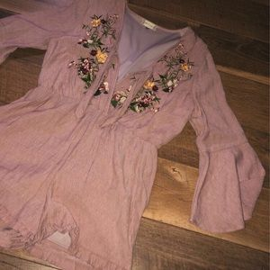 Long bell sleeve floral romper